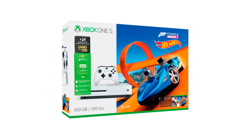игровая приставка Microsoft Xbox One S 500Gb White + Forza Horizon 3 + DLC Hot Wheels + 6мес XboxLive