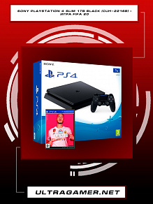 Sony PlayStation 4 SLIM 1Tb Black (CUH-2216B) + игра Fifa 20